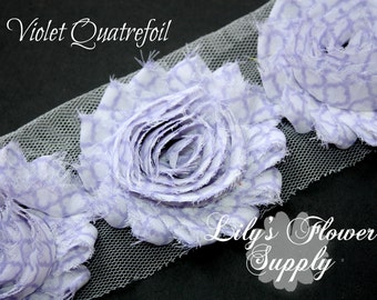 Violet Quatrefoil Shabby Flowers - Shabby Rose trim - Shabby Flower - Chiffon Flower - Shabby Chic - Rose Trim Wholesale - 1/2 or 1 yd
