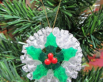 Beaded and Lace Christmas Ornament