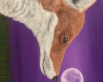 Night Fox original acrylic painting