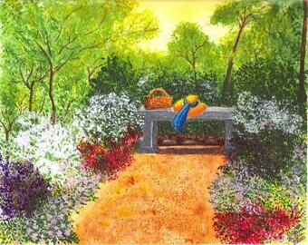 Sanctuary- fine art print, watercolor painting, original watercolor, garden painting, watercolor art print, wall decor,home decor,
