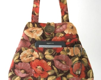 floral handbag, floral bag, vegan bag, fabric handbag, womens handbag, floral tote bag, shoulder bag, bag with pockets