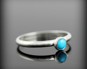 Turquoise ring - recycled sterling silver ring with bezel set 4mm gemstone, December birthstone