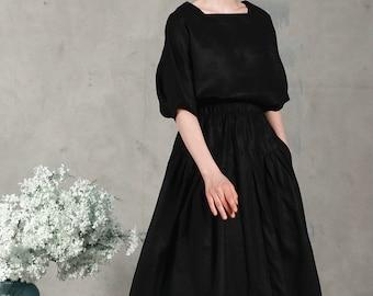 black linen kimono shirt blouse,  square neck linen tunic, black linen top, loose fitting shirt, half sleeve tshirt, comfortable top