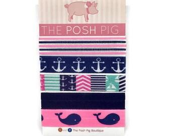 Whale Hair Ties, Anchor Hair Ties, Ponytail Holders, Preppy Hair Ties, Nautical Hair Ties, Blue and Pink Hair Ties, Hair Bands