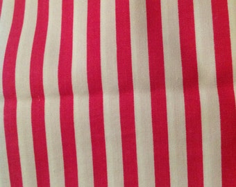 2 2/3 Yards of Vintage Pink and White Stripe Cotton Fabric