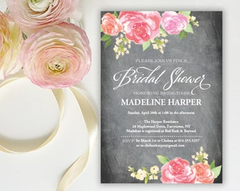 Bridal Shower Invitation Template | Editable Invitation Printable | Wedding Shower Chalkboard Floral Bouquet Invite | No. PW 2124