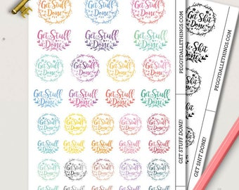 Get Stuff Done Planner Stickers | Motivational stickers | Inspirational stickers | Get Shit Done Stickers | Wreath Stickers