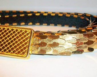 Vintage Stretch  Ladies Thin Stretch Belt  Metal Overlap Links  Fish Scale Overlap Links  472137544b1