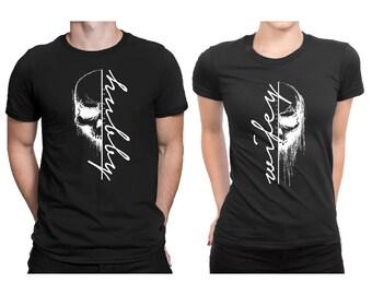 Couple Matching T-shirt Set, Hubby Wifey Skull - Custom Date, Custom Wedding T-shirt, Couple T-shirt, Valentines Personalized T-shirt #7