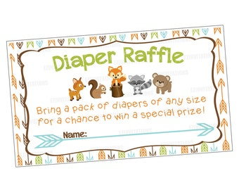 Woodland Animals Baby Shower Diaper Raffle Cards/ fox raccoon deer bear squirrel forest diaper raffle shower invitation - PRINTABLE!!!