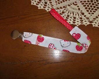 Pacifier - - made with a new Hello Kitty printed fabric - handmade-