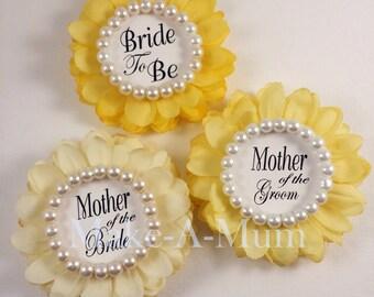3 Yellow Bridal Shower Corsage, Bridal shower favors, Hand-dyed Wrist or Pin, wedding gift, GLASS PEARLS,sUNSHINE tRIO PEARL,btb, motb,motg