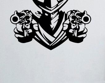 Cowboy Bandit Revolver Pistols Weapons Shawl Hat Vinyl Wall Decals Vinyl Stickers Murals MK2412