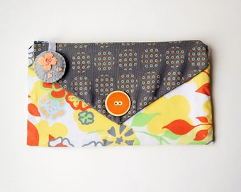 Zipper Pouch, Cosmetic Bag, or Pencil Case - Flowers and Dots in Gray, Yellow, Orange, Green and White with Felt Floral Brooch Zipper Pull