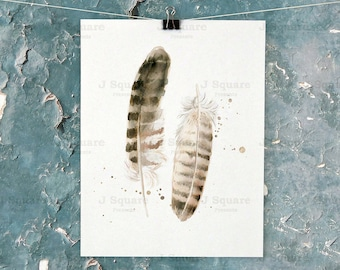 Watercolor Feather Art Printable #3// instant download feather painting// pheasant feather art// Boho Decor