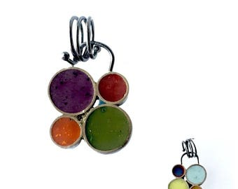 Tiny Bubble Cluster Pendant Silver and Resin Double Sided Reversible Colorful Cool Warm Tones