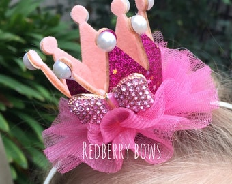 "PINK BIRTHDAY CROWN with Pink Rhinestone Bow-Approximately 2""x2"""