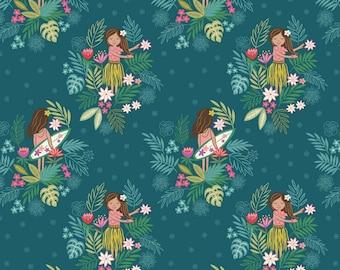 Fat Quarter Island Girl Polynesian Look Dark Teal 100% Cotton Quilting Fabric