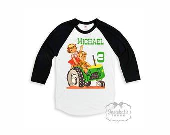 "Kids Farm Shirt - Kids ""Green Tractor"" - Farm Party Baseball Shirt - Baseball Black Boy Girl Retro Toddler Infant - Kids Farm Birthday Party"