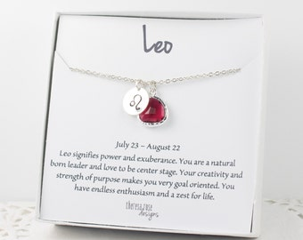 Leo Zodiac Silver Necklace, Leo July Birthday Necklace, July Birthday Jewelry, Zodiac Necklace, Astrology Silver Necklace