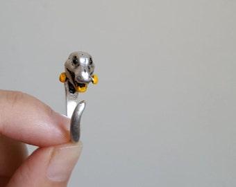 Dinosaur Ring, Custom Colored Animal Wrap ring, Birthday Gift, Hedgehog Rings