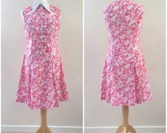 Vintage mod dress, size 10 1960s dress, pink shirt dress, dagger collars, pink and white dress, 1970s dress size 40, vintage scooter dress
