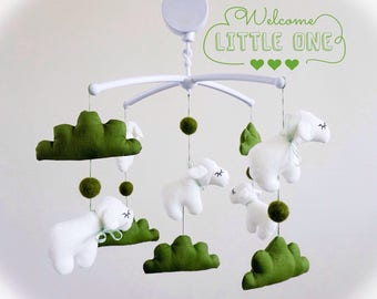Sheep baby mobile white & green hill lambs  Crib canopy nursery decoration toy cot mobile