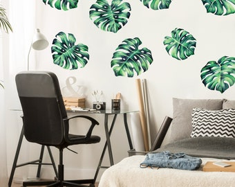 Tropical Monstera Watercolor Wall Decal   Tropical Philodendron Plant Wall  Mural By Chromantics