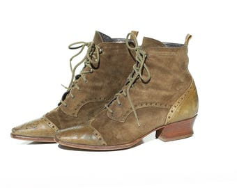 Vintage Italian Ivy League Green Suede & Leather Ankle Boots / size 6.5