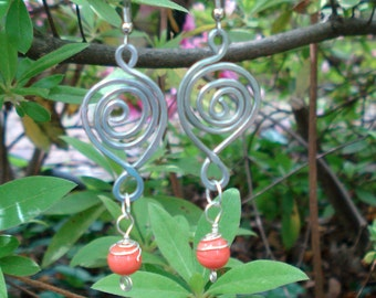 Hammered Wire Spiral Orange Earrings