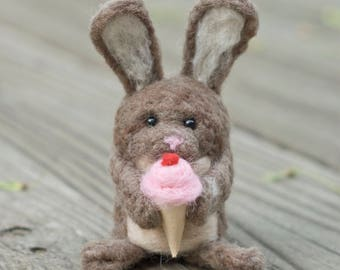 Needle Felted Bunny - Hungry for Ice cream