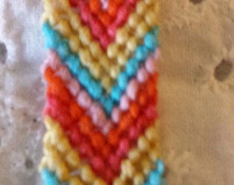 Bright embroidery floss friendship bracelet