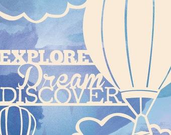 """Hot Air Balloon print, Mark Twain quote 8""""x10"""""""
