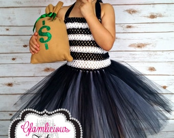Bandit costume| Burglar tutu dress| Cop and robber costume| newborn- 5T child listing