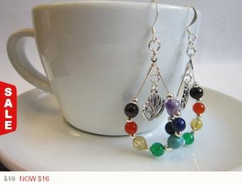 Sale -  7 Chakra Teardrop Earring, Chakra Balance Earring, 7 Chakra Earring, Silver Plated Chakra Earrings, Healing Chakra Earring, Chakra E
