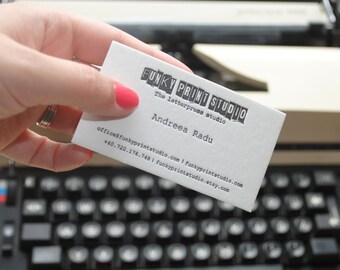 200 Custom letterpress business cards. Letterpress calling cards.