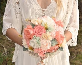 Bridal bouquet, wild flowers, coral mint bouquet, wedding bouquet, Shabby Chic Rustic Wedding, fabric bouquet