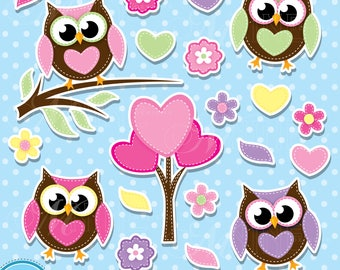 PATCHWORK OWLS Sticker Clip Art / OWLS Clipart Downloads / Owl Theme Clipart, Vector Owls Sticker Clipart