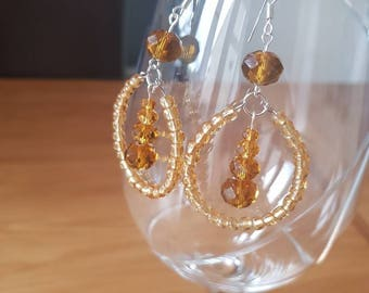 Gold glass bead Dangle Hoop Earrings