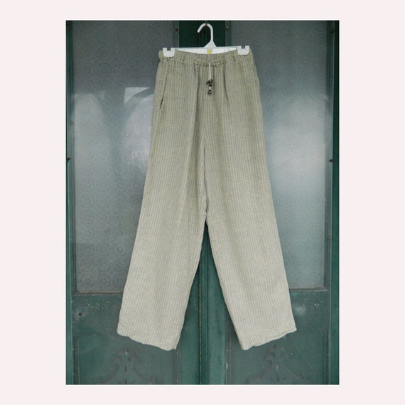 FLAX Engelhart Soleil Long Pants -S- Green Moth Stripe Seersucker Linen