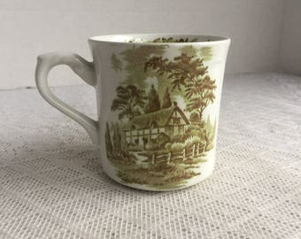 Green Transferware Coffee Cup / Vintage Ceramic Teacup or Mug Made in England by J and G Meakin