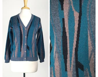 Vintage 80s Abstract Pattern Fuzzy Wool Cardigan Sweater Teal Grey & Black Small Medium