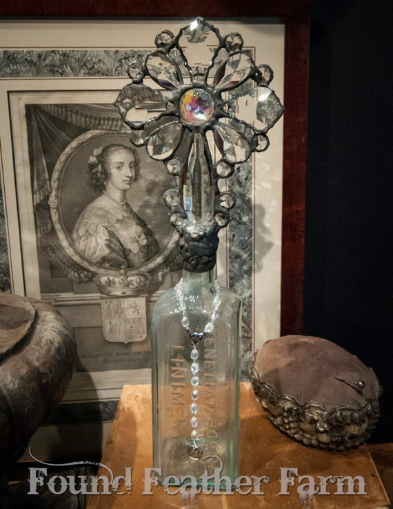 Handmade Glass Cross Bottle with an 1880's Antique Bottle