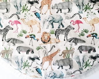 130cm XL Round Padded Baby Play Mat Tummy Time Mat Playmat Picnic Rug Nursery Decor Baby Gift Activity Mat Play Mat Animal Kingdom