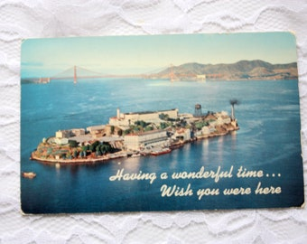 Vintage 1956 Alcatraz island, San Francisco Postcard, California Postcard, with stamp Alcatraz Island postcard Having a great time postcard