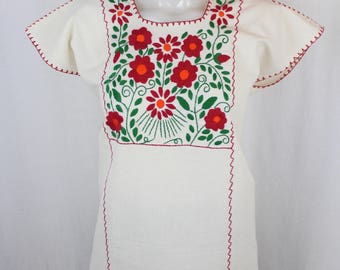 Traditional Hand Embroidered Multicolor Mexican Huipil on Manta/100% Cotton -BOHO-Hippie- Emma- Red- Frida Kahlo