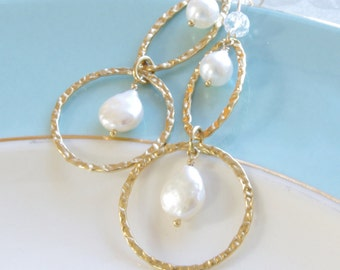 Bridesmaids Gifts Set of 3 Pairs Earrings Long Gold Dangles Pearl Bridesmaid Sets Wedding Jewelry Bridal Party Favors 14K Gold Fill Gemstone
