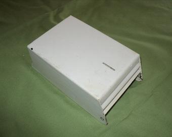 Vintage Metal Napkin Dispensor Painted White--Opens With Key