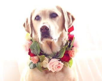 Ameila   Made to Order   Pink Rose Dog Flower Collar   Leaves Flower Crown   Flower Collar   Wedding Dog   Rustic Wedding   Boho Wedding