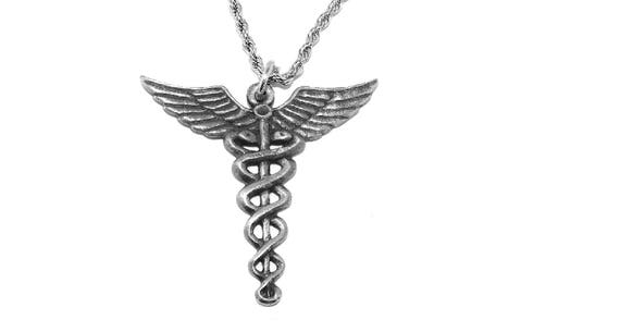 Egyptian Caduceus Pewter Pendant Staff Of Hermes Necklace